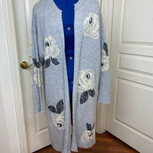 Style & Co Gray Floral Cardigan Size Large